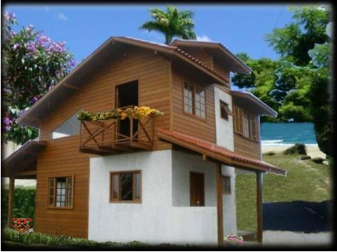 Casa de madeira com alvenaria