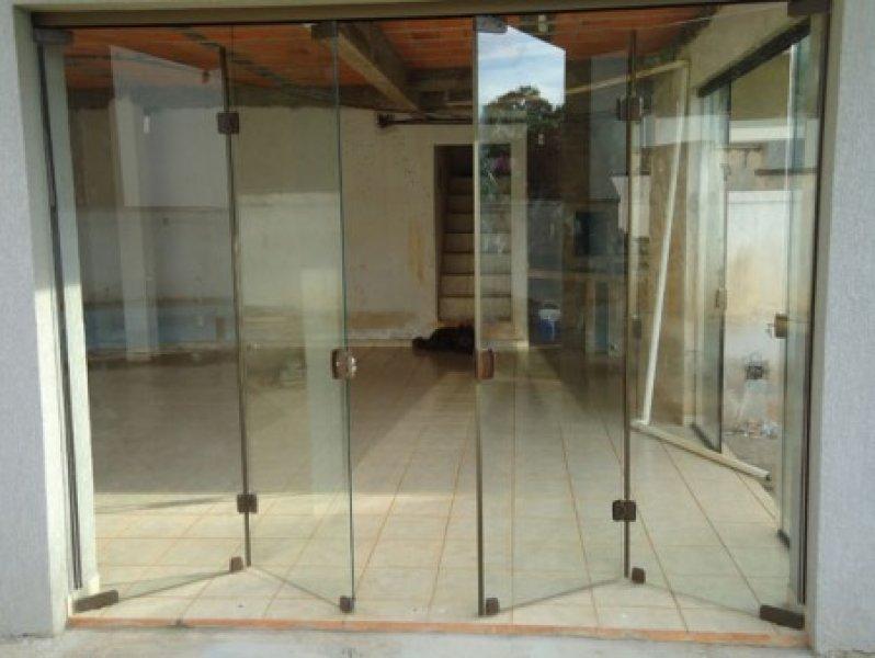 Porta blindex para sala for Porta 4 folhas de vidro temperado